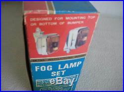 Vintage Kmart Chrome Rectangular Wide Range Fog Lamp Light Set 12V With Switch NOS