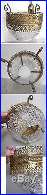 Vintage Lamp Repair Parts, HANGING LAMP CENTER, Vict. Brass, GLASS BOWL, Daisy Button