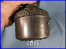 Vintage MILLER METEOR Embossed Hi-Rise Brass Oil Lamp Drop In Font Tank 1890