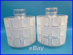 Vintage Pair Art Deco Clear & Frosted Glass Decorative Hanging Lamp Shades Parts