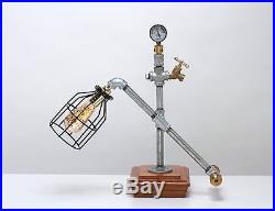 Vintage Steampunk Industrial Machine Age Table Lamp A. K. A. Square Cap