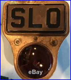 Vintage Stop Slow SLO Turn Light Lamp Art Deco 1920s 30s Orig Culver Stearns ACE