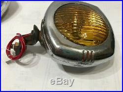 Vintage US Pioneer 145 GE Fog Lamps Lights Pair 6 Volt Amber Lens Bulb GM Ford