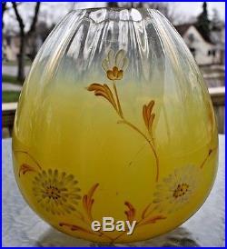Vintage Victorian Kerosene Oil Banquet Lamp Art Glass Enameled Shade Globe