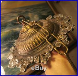 Vintage ceiling Rosette Spelter Brass canopy lamp chandelier part glass beaded