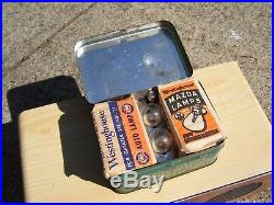 Vintage nos 50s Ford emergency Bulb & fuse kit tin box can head tail lights lamp