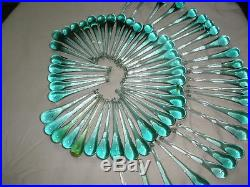 Vintage set of 65 hand blown teardrop glass parts for chandelier lamp 4