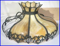Vtg 25 Antique Slag Stained Glass Lamp Shade Chandelier For Parts