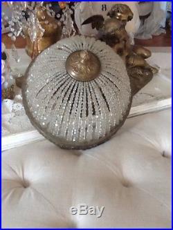 Vtg Beaded Dome Lamp part antique chandelier flush french italian style