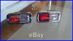 Vtg oem super rare chrome hella upgrade light lamps reverse fog red/white NOS
