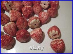 ZZZ Vtg Lot of 50 Porcelain Strawberries Lamp Chandelier Part Capodimonte Fruit